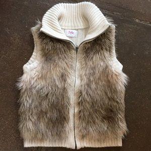 Justice brand girls faux fur sweater vest sz 12